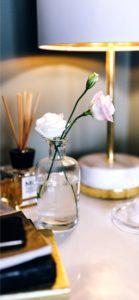机の上の白いバラ1