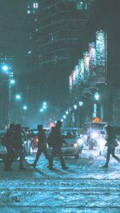 雪の街の横断歩道2