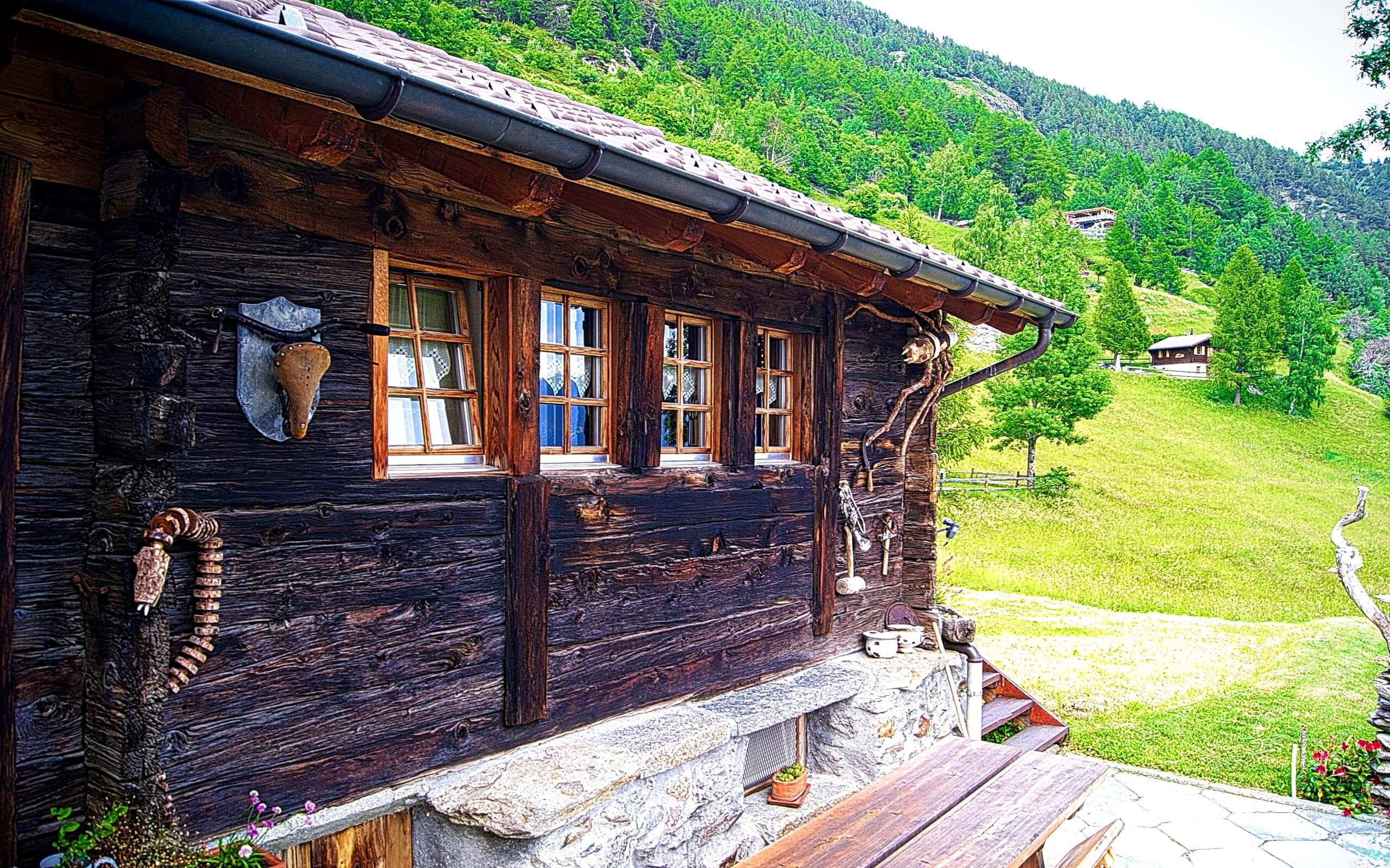 春の山小屋1