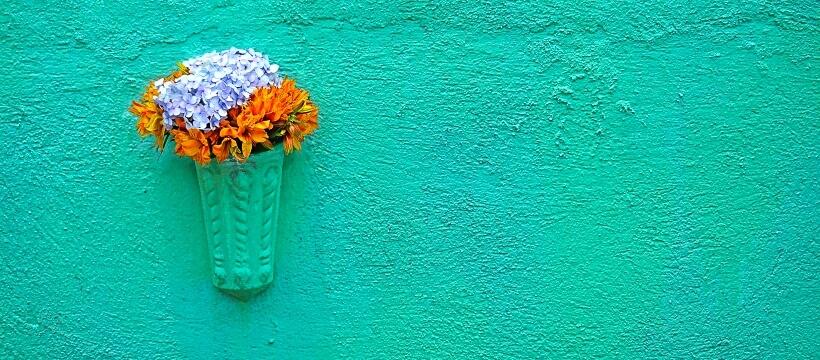 ブルーの壁と花