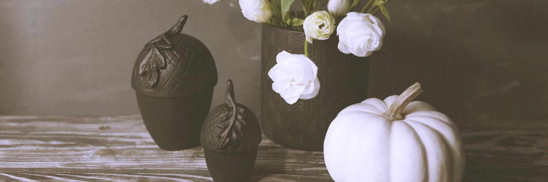 白い花と白いかぼちゃ