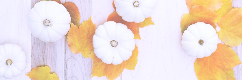 白いカボチャとオレンジの葉